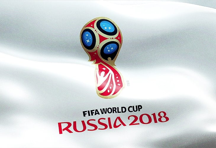 Official logo of the world Championship cup in Russia 2018, flag waving in the wind, russia circa June 2018